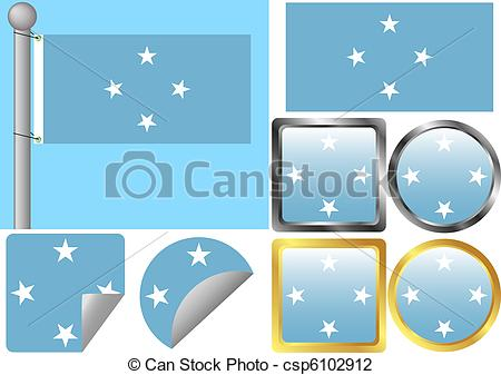 Vector Illustration of Flag Set Federated States of Micronesia.