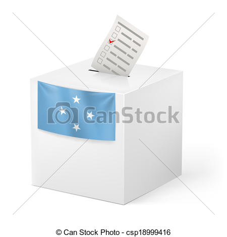 Vector Clip Art of Ballot box with voting paper. Federated States.