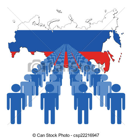 EPS Vector of people with Russian Federation map.