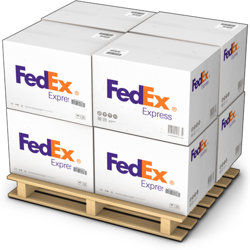 Boxes, fedex, goods, palet, products, shipment, shipping, warehouse icon.