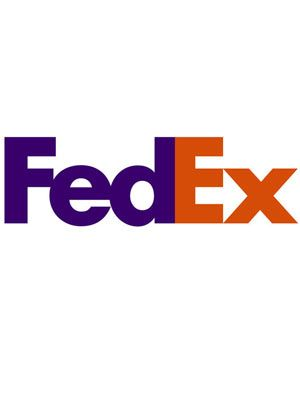 Here is the FedEx logo, a symbol of their fast delivery is.