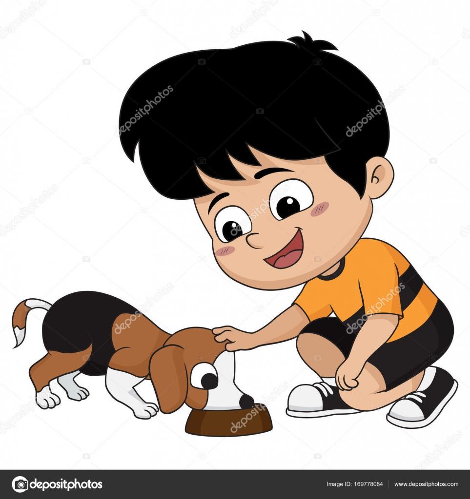Clipart: feeding dog.