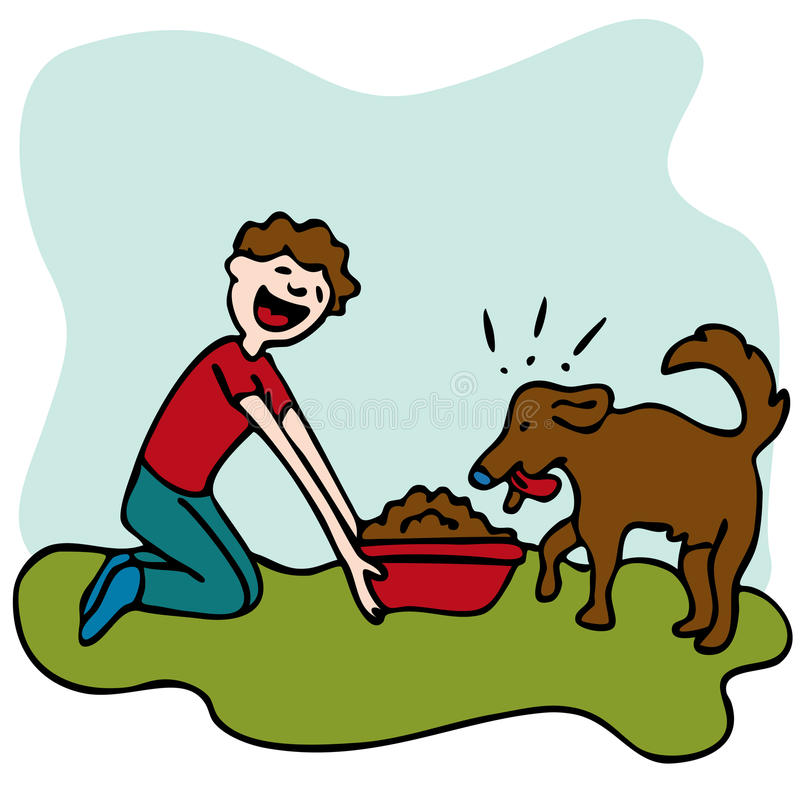 Feeding Dog Stock Illustrations.