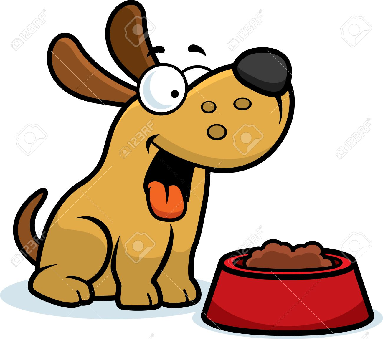 A cartoon illustration of a dog with a bowl of food..
