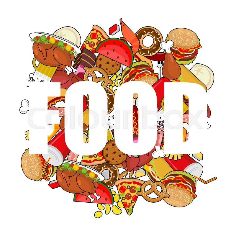 Food doodle. many feed. Pile sign of meat. Pizza and tacos. French.