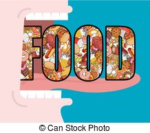 Clip Art Vector of Fast Food doodle. many feed. Pile sign of meat.