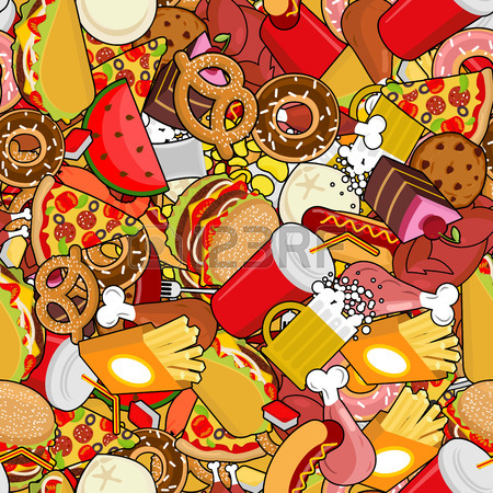 Fast Food Seamless Pattern. Feed Ornament. Meat Background. Pizza.