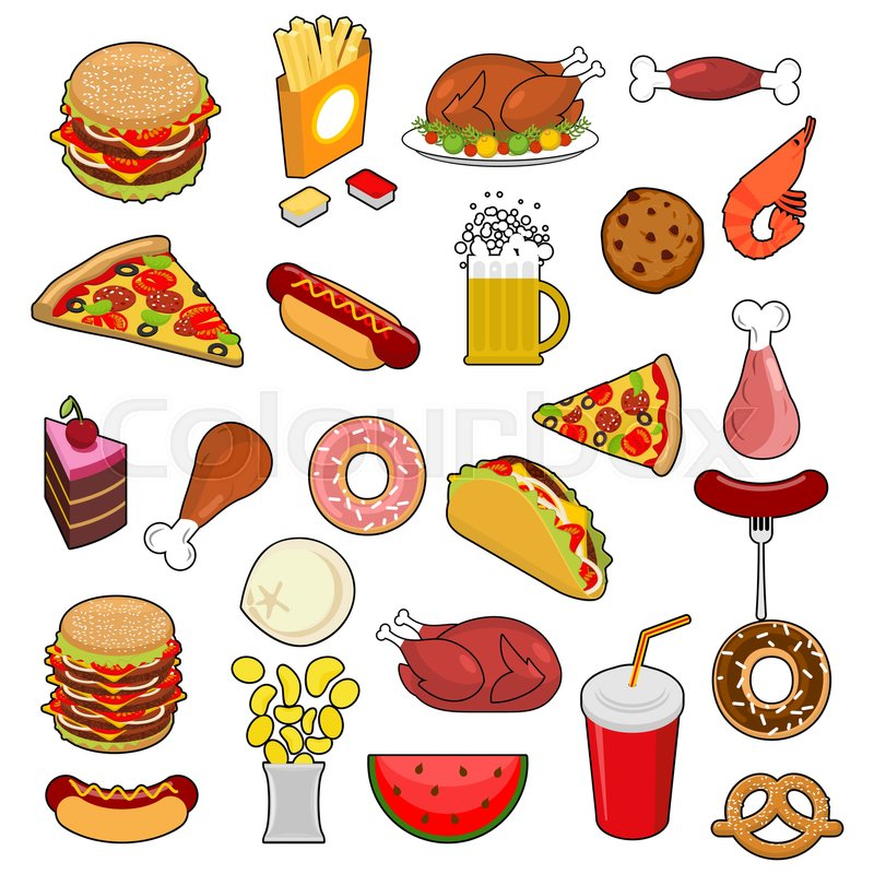 Fast Food big set. Signs of feed. Icon Collection of meat. Pizza.