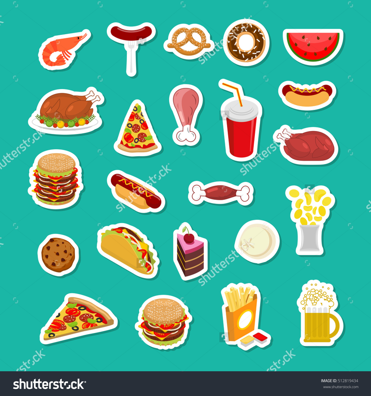 Fast Food Sticker Set Signs Feed Stock Vector 512819434.