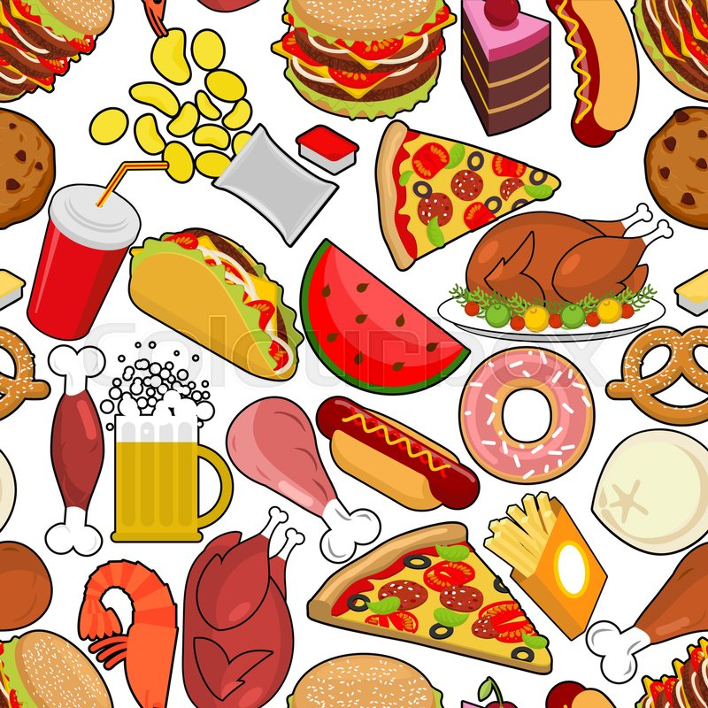 Food seamless pattern. Feed ornament. meat background. Pizza and.