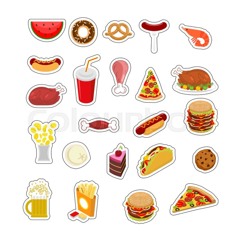 """Buy Vector """"Food sticker set. Signs meat. feed Icon Collection."""