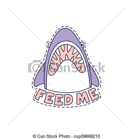 Vector Clip Art of Feed Me Shark Bright Hipster Sticker With.