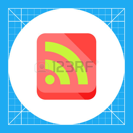 Illustration Of Green Internet Feed Sign In Coral Square. Web.