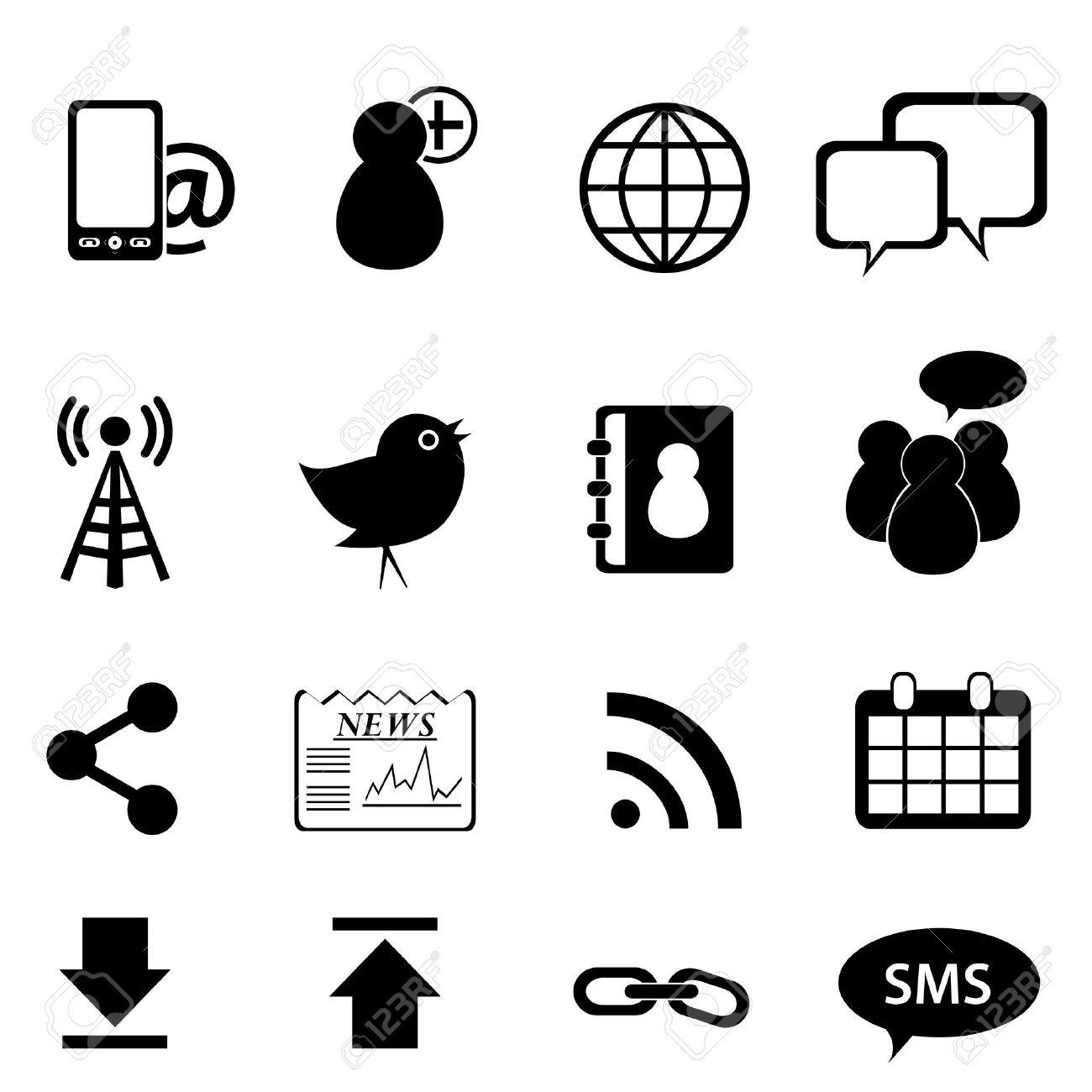 Social Network And Media Icon Set Royalty Free Cliparts, Vectors.