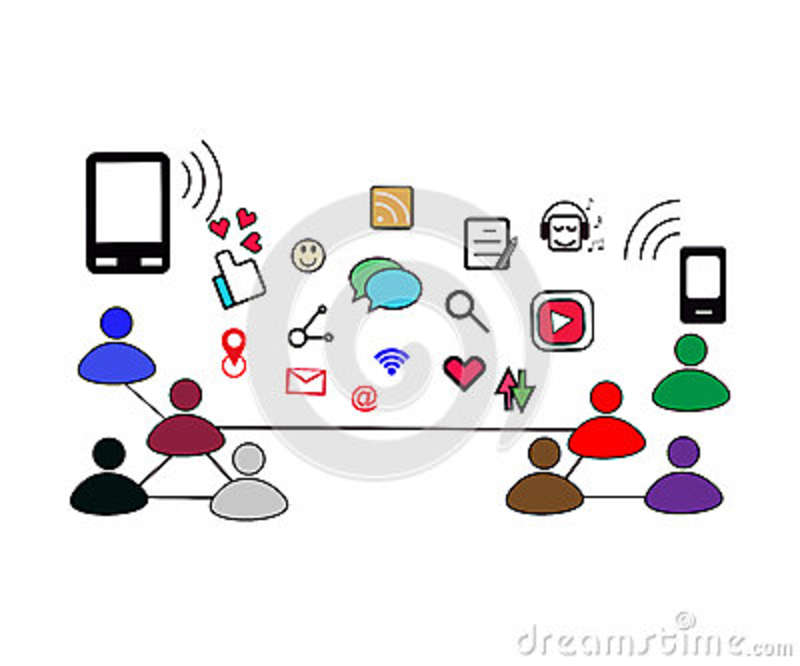 Social Networking On People Today With Many Kind Of Icon Stock.