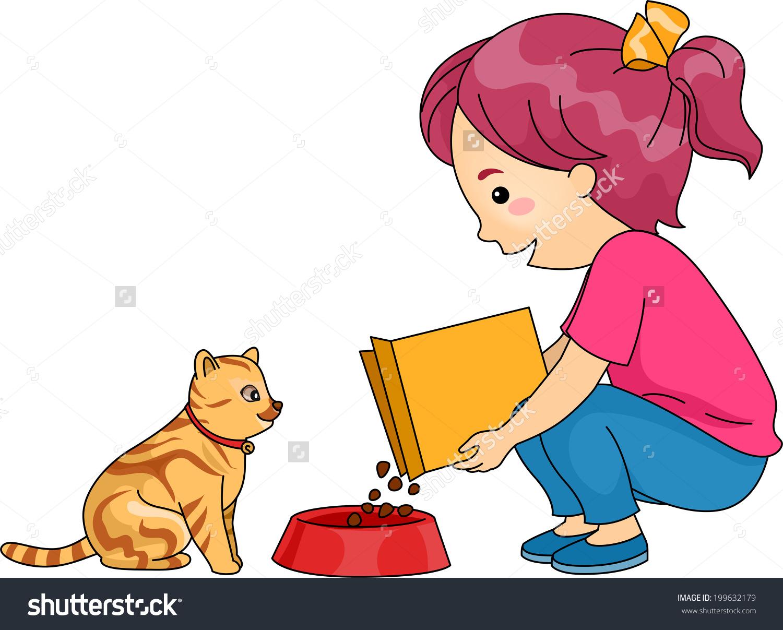 Feeding Pets Clipart.
