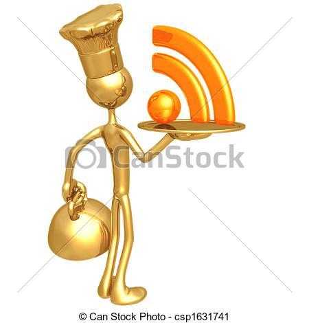 Clipart of Golden Chef Serving RSS Feed.