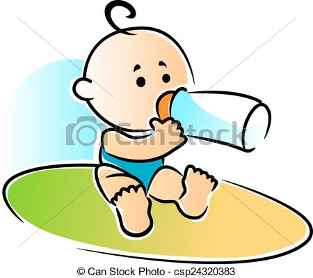 Vector of Adorable newborn baby drinking a bottle of feed.