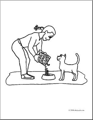 Clip Art: Kids: Chores: Feeding the Cat (coloring page) I.