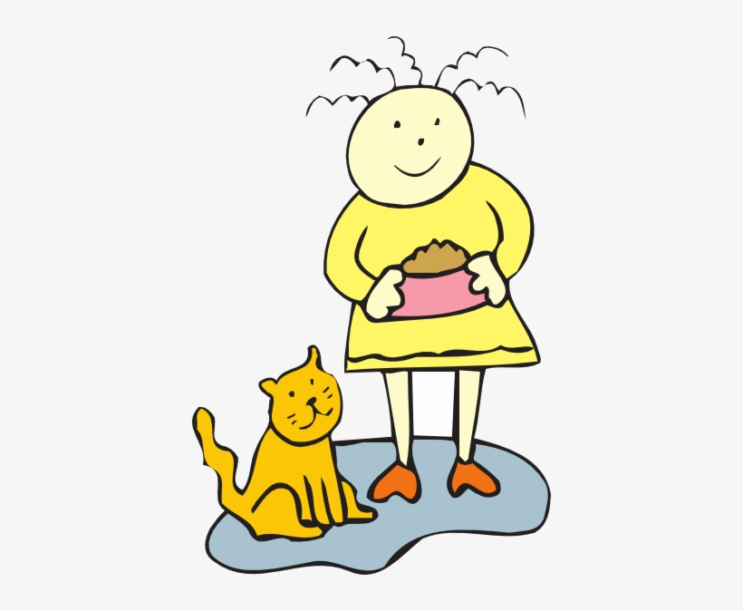 Girl Feeding Her Cat Clip Art At Clker Com Vector Clip.