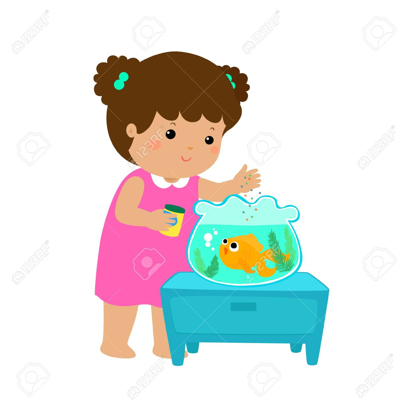 Illustration of cute little girl feeding fish in aquarium cartoon...