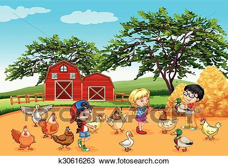 Children feeding animals in the farm Clipart.