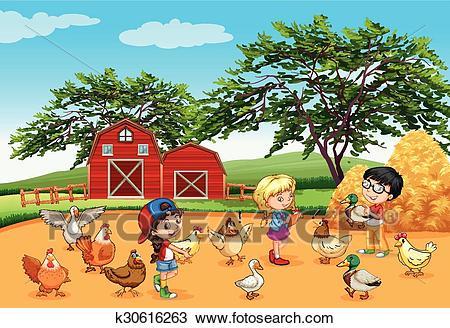 Children feeding animals in the farm Clipart.