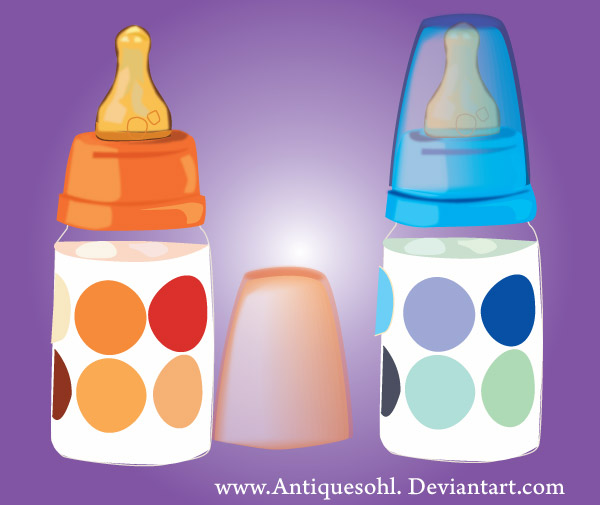 Vector Baby Milk Feeding Bottles.