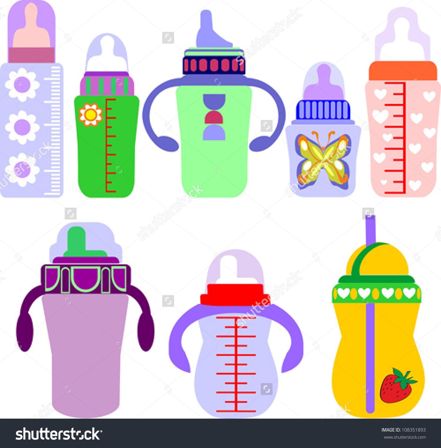 Set Feeding Milk Bottles On White Stock Vector 108351893.