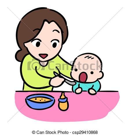Baby feeding clipart.