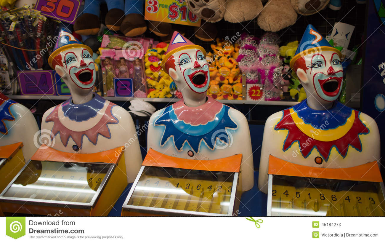 Carnival Laughing Clowns Stock Photo.