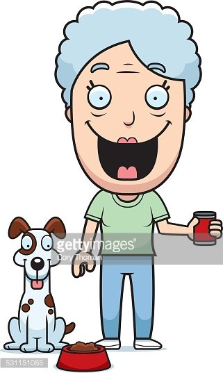 Cartoon Woman Feeding Dog Clipart Image.