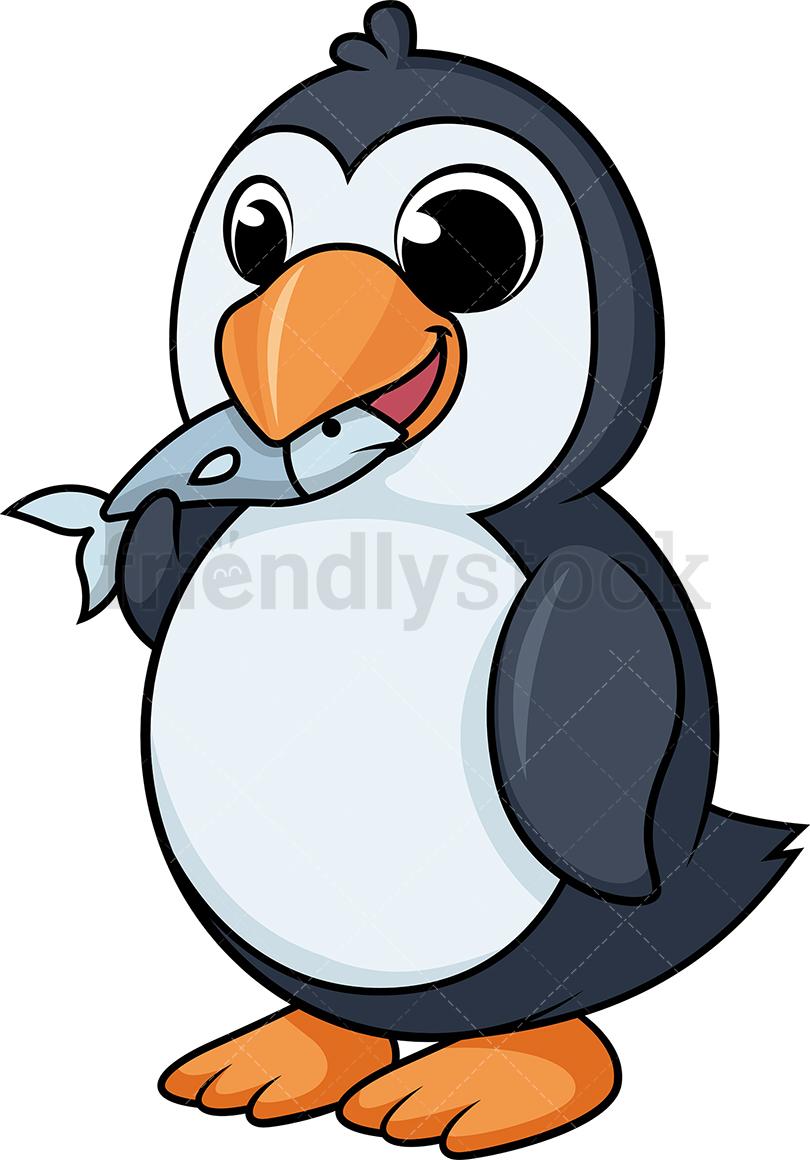 Penguin Eating Fish.
