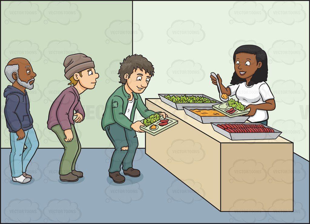 A black woman volunteer in a feeding program #cartoon.