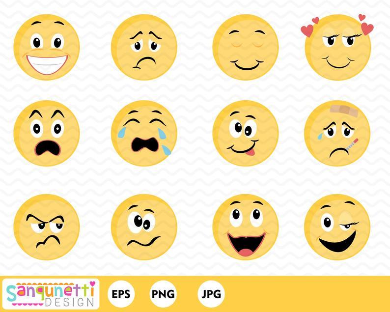 Smiley Face Feelings Clipart,Emoji digital art, instant download.