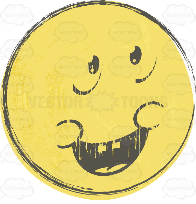 Apologizing Rough Sketched Faded Yellow Smiley Face Emoticon, Open.