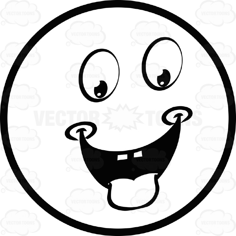 Hungry Dimpled Large Eyed Black And White Smiley Face Emoticon.