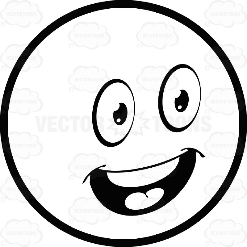 Upbeat Large Eyed Black And White Smiley Face Emoticon With Open.