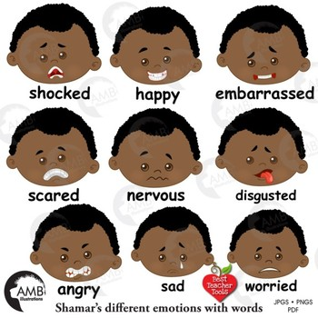 Emoji, Multicultural Emoticons, African American Boy Feelings Clipart,  AMB.