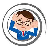 Drawings of Businessman who feels dizzy k12050574.