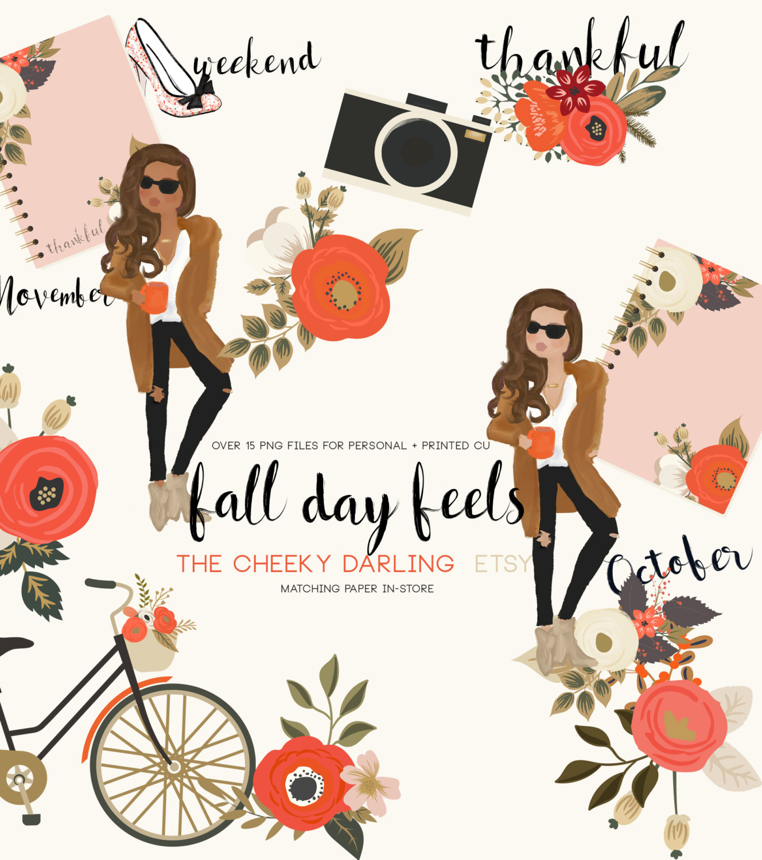 Fall Day Feels Autumn Floral Fashion Girl Clipart clip art Floral.