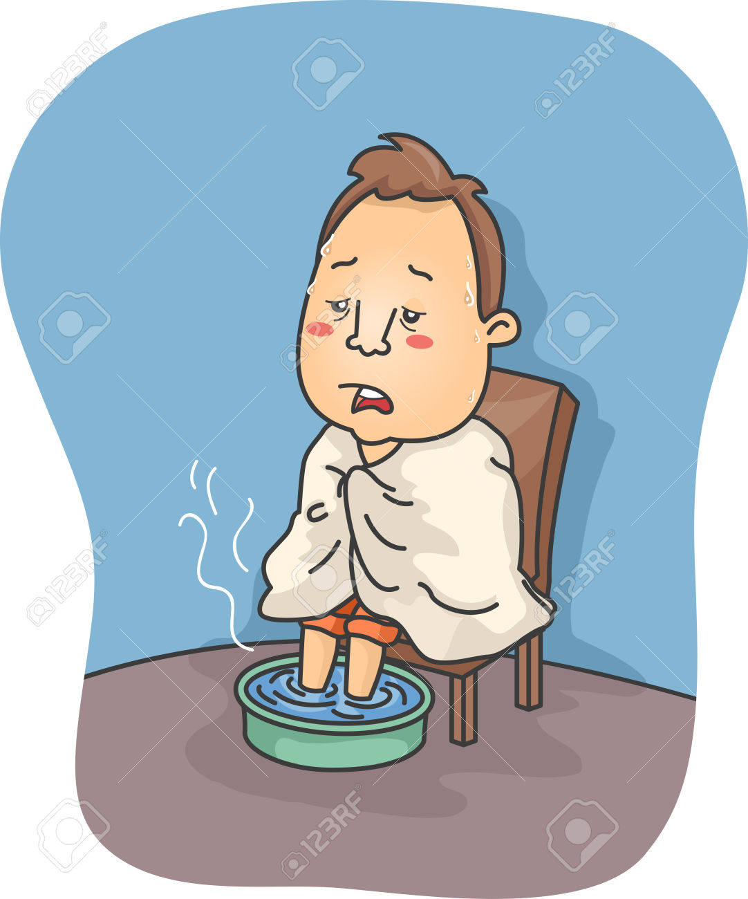 Illustration Of A Man Sick With Flu Soaking His Feet In Hot Water.