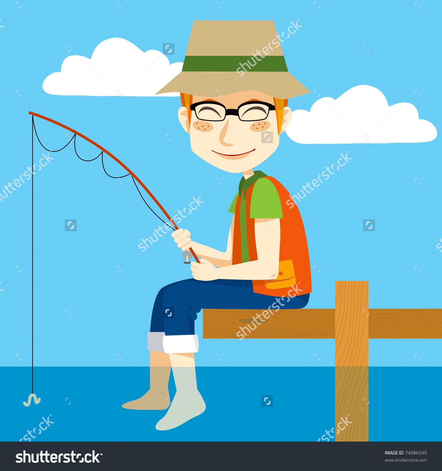 Man Sitting On Dock Fishing Rod Stock Vector 74986549.