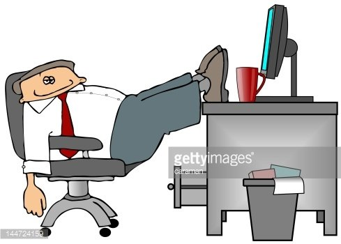 Feet On The Desk Clipart Image.