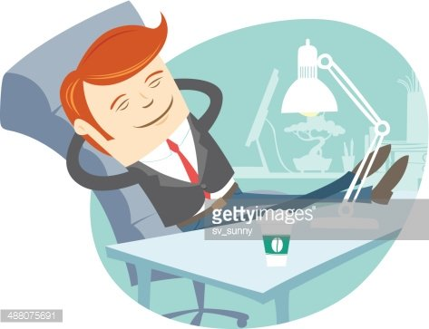 Office man sitting with feet on his working desk Clipart.