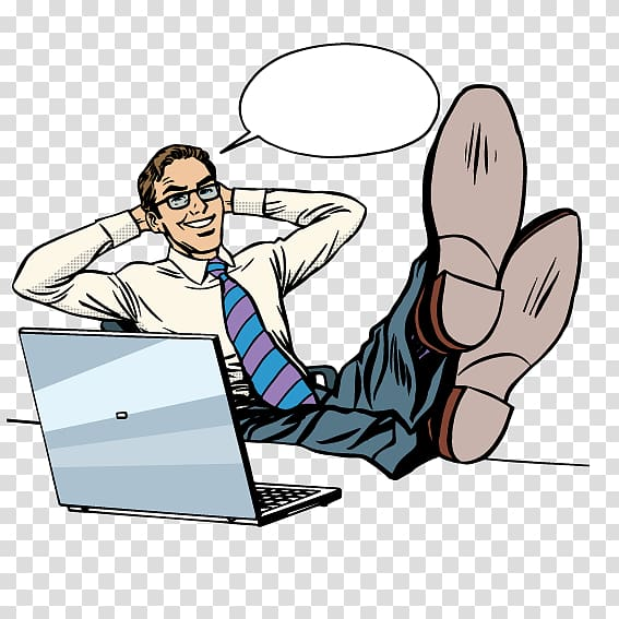 Businessperson Illustration, Rocker feet on the table white.