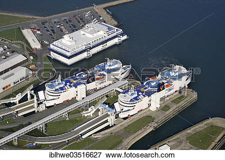 "Picture of ""Aerial view, Puttgarden ferry port, Puttgarden."