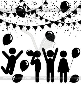 Flat celebration icons with air balloons, confetti.