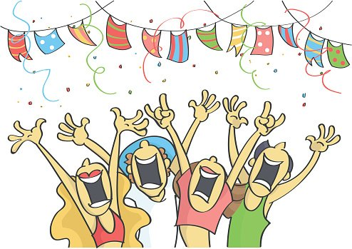 Group of people partying Clipart Image.