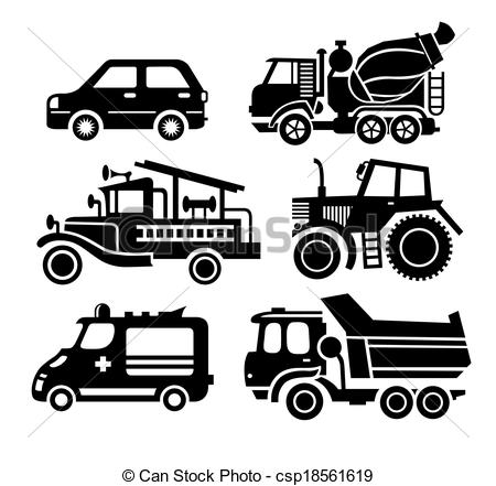 Vector Clip Art of car icon, black transportation vector set.